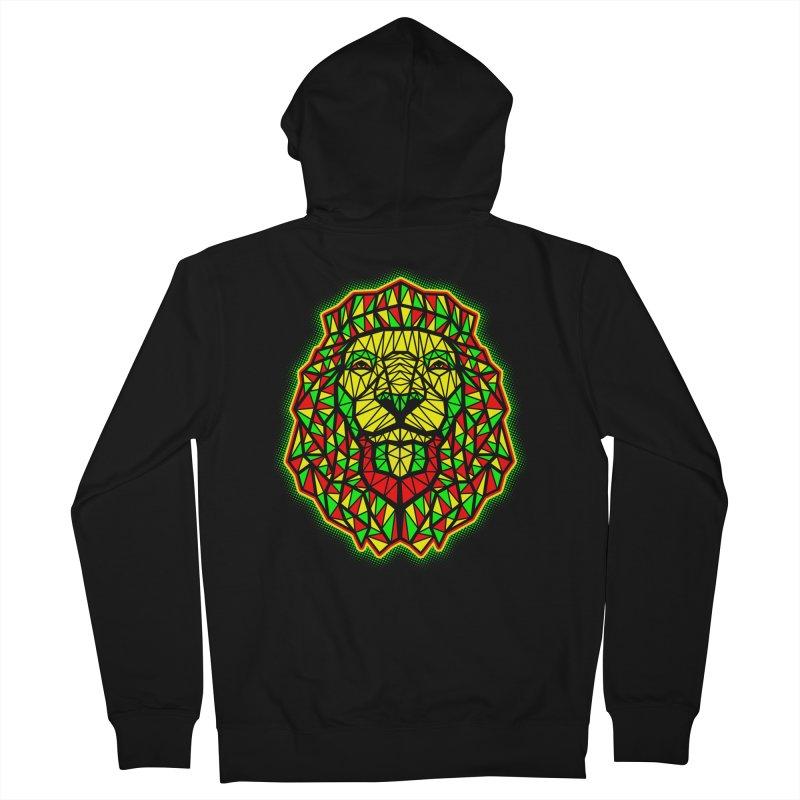 Rasta Geometric Lion Men's Zip-Up Hoody by rskamesado's Artist Shop