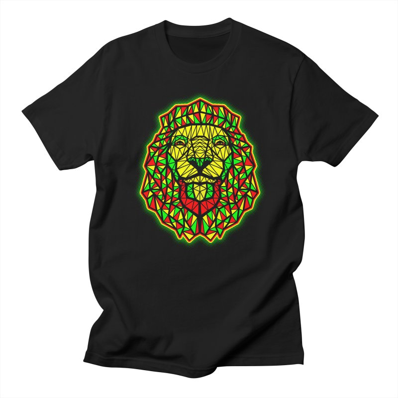 Rasta Geometric Lion in Men's T-shirt Black by rskamesado's Artist Shop