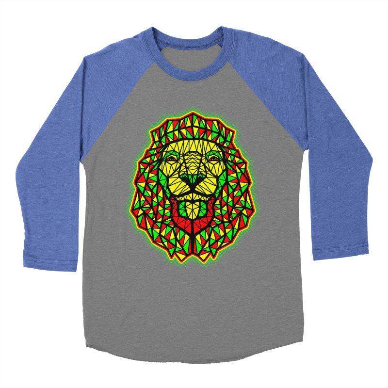 Rasta Geometric Lion Women's Baseball Triblend T-Shirt by rskamesado's Artist Shop