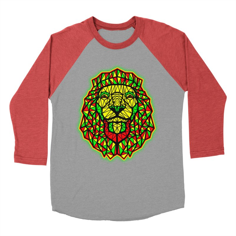 Rasta Geometric Lion Women's Baseball Triblend T-Shirt by rskamesado's Artist Shop