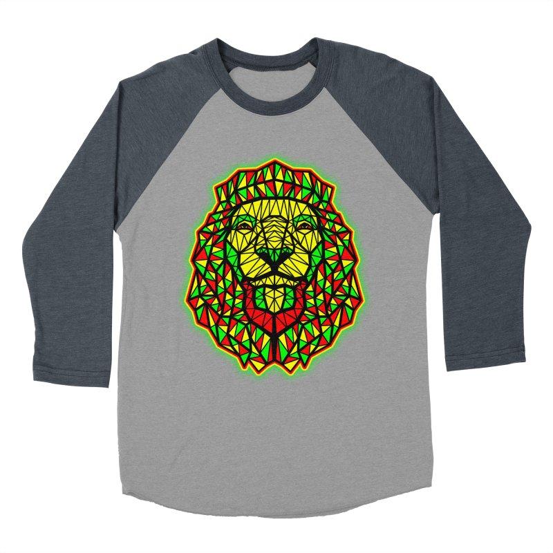 Rasta Geometric Lion Men's Baseball Triblend T-Shirt by rskamesado's Artist Shop