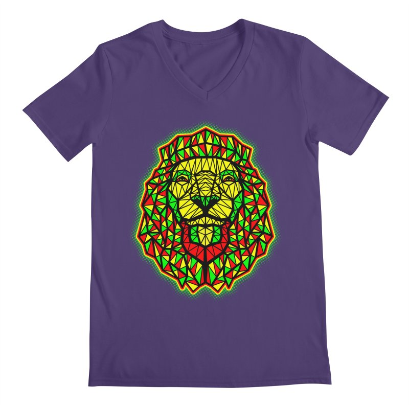 Rasta Geometric Lion Men's V-Neck by rskamesado's Artist Shop