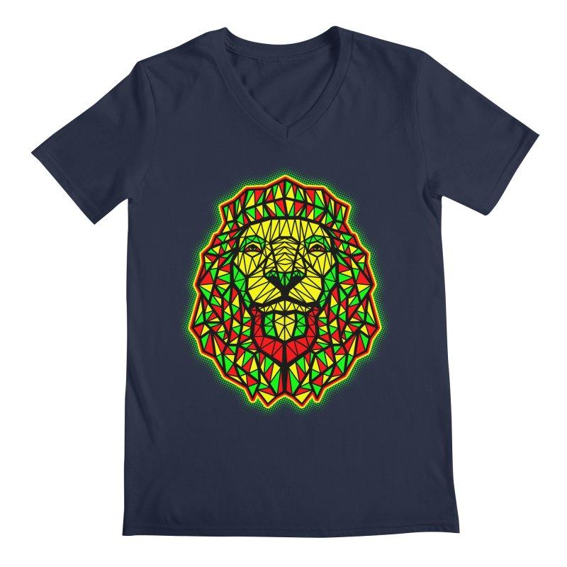 Rasta Geometric Lion Men's V-Neck by rskamesado's Artist Shop