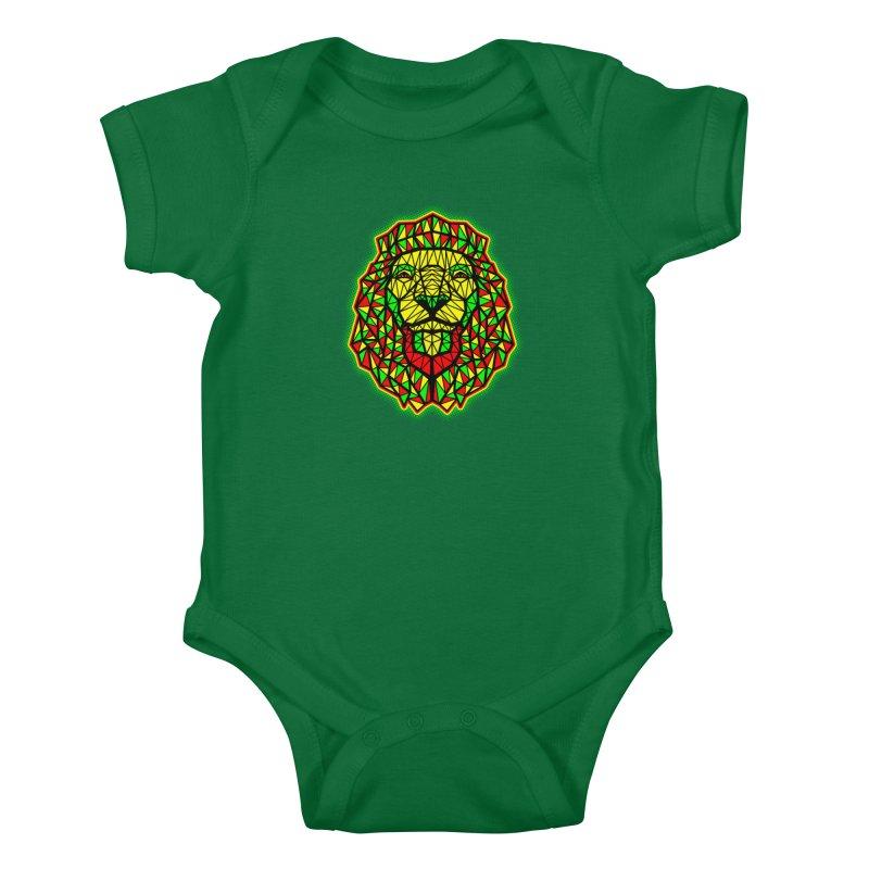 Rasta Geometric Lion Kids Baby Bodysuit by rskamesado's Artist Shop
