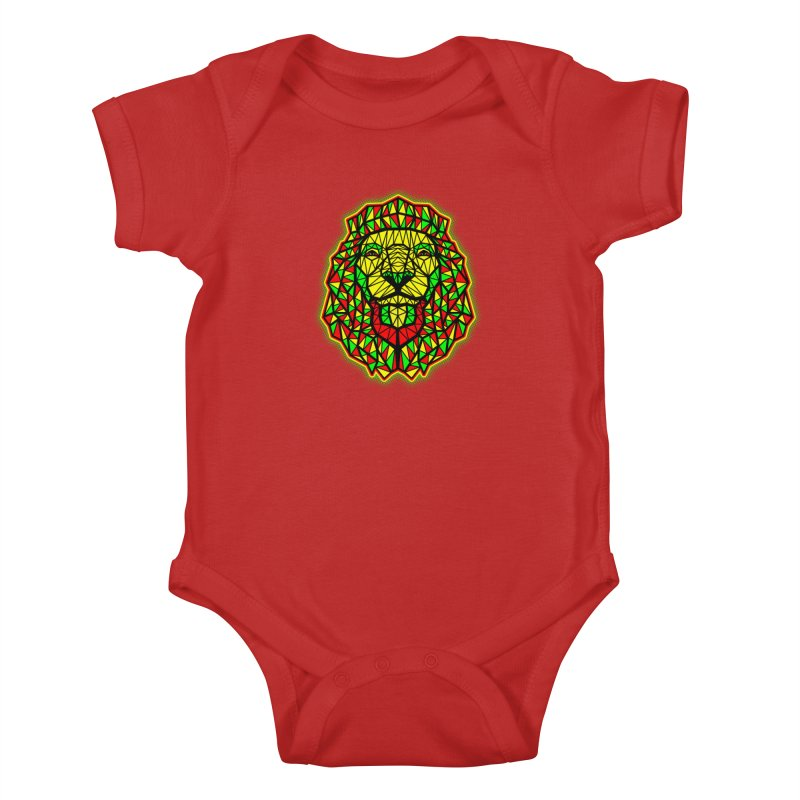 Rasta Geometric Lion Kids Baby Bodysuit by rskamesado's Artist Shop