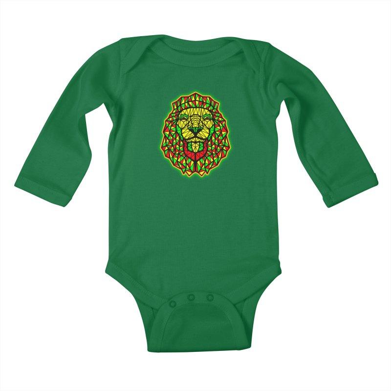 Rasta Geometric Lion Kids Baby Longsleeve Bodysuit by rskamesado's Artist Shop