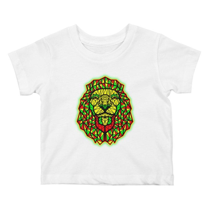 Rasta Geometric Lion Kids Baby T-Shirt by rskamesado's Artist Shop