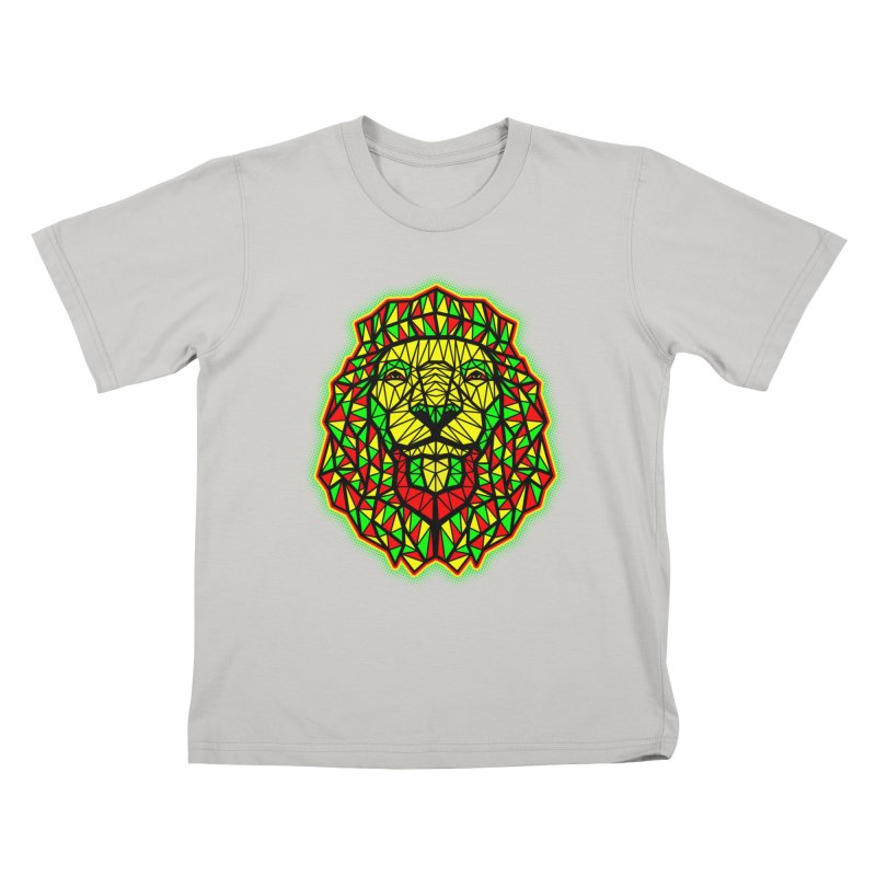 Rasta Geometric Lion Kids T-shirt by rskamesado's Artist Shop