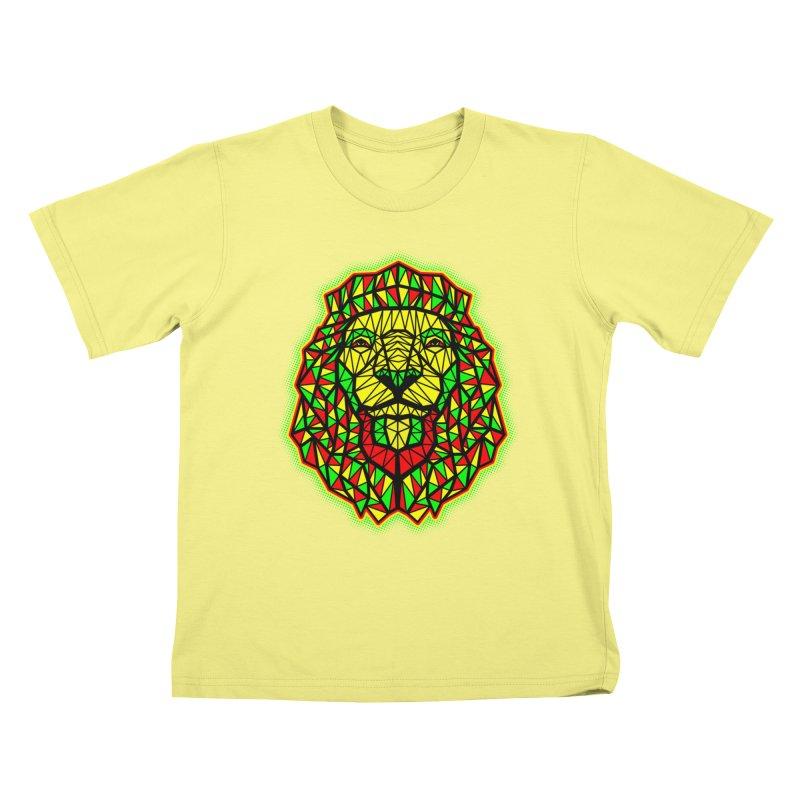Rasta Geometric Lion Kids T-shirt by rskamesado's Artist Shop