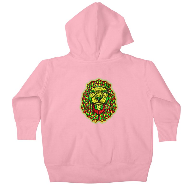 Rasta Geometric Lion Kids Baby Zip-Up Hoody by rskamesado's Artist Shop
