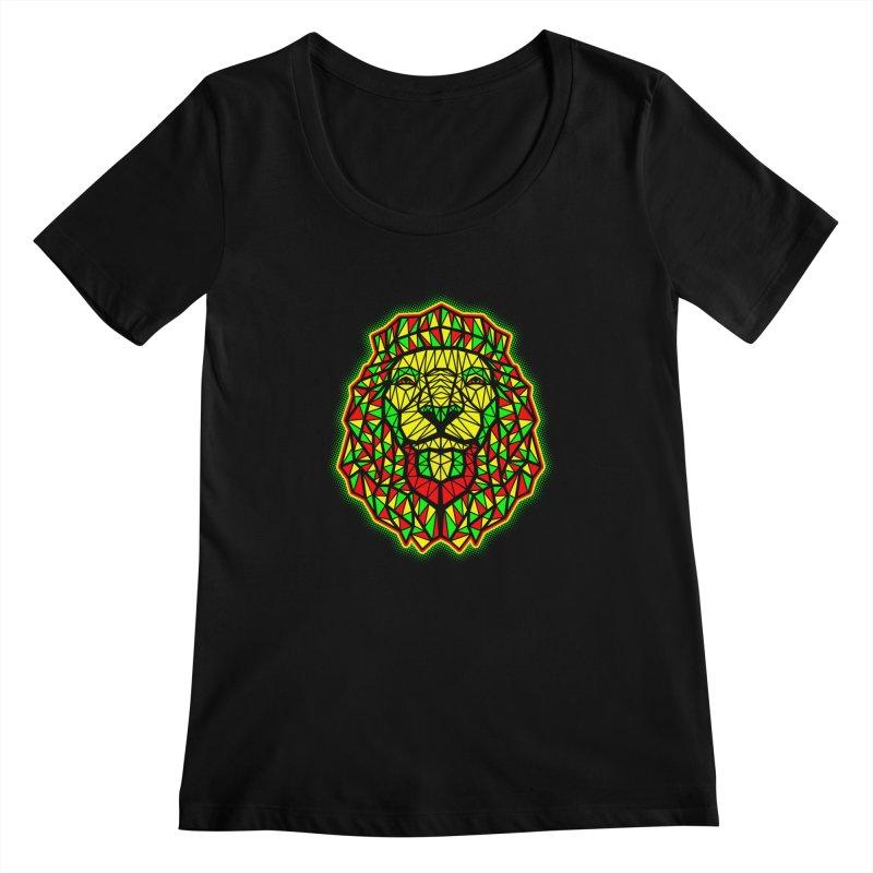 Rasta Geometric Lion Women's Scoopneck by rskamesado's Artist Shop
