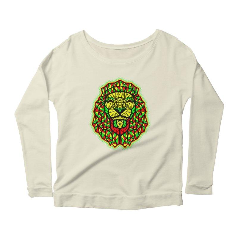 Rasta Geometric Lion Women's Longsleeve Scoopneck  by rskamesado's Artist Shop