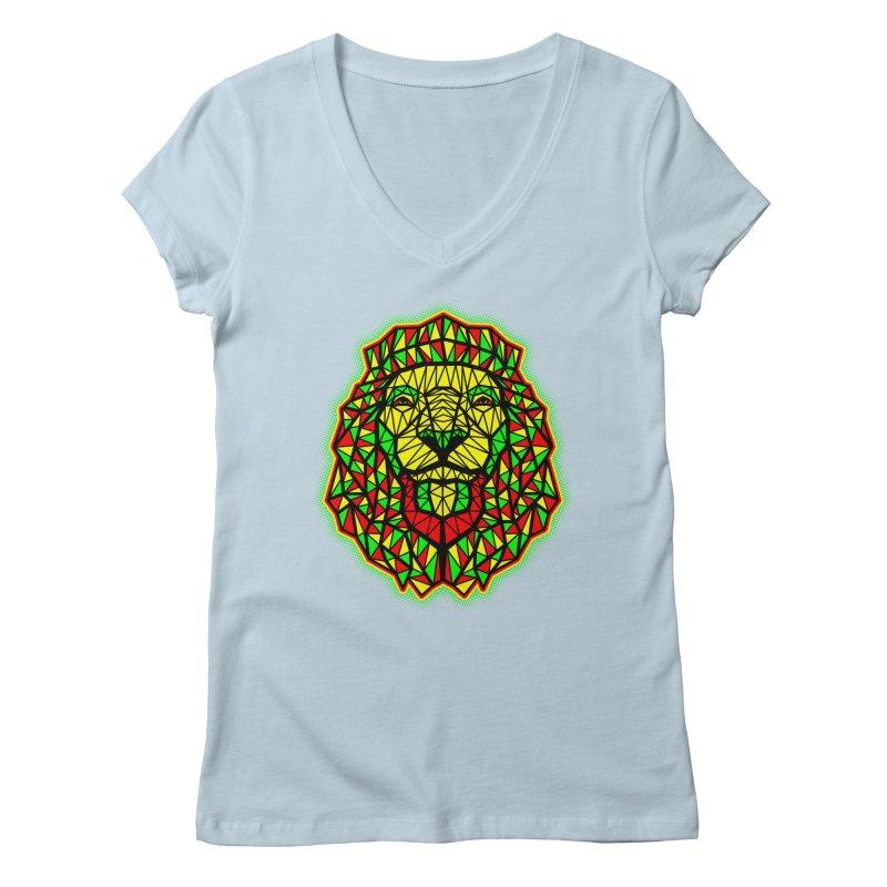 Rasta Geometric Lion Women's V-Neck by rskamesado's Artist Shop