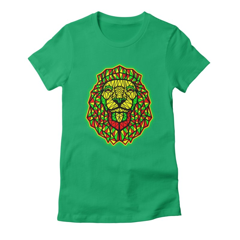 Rasta Geometric Lion Women's Fitted T-Shirt by rskamesado's Artist Shop