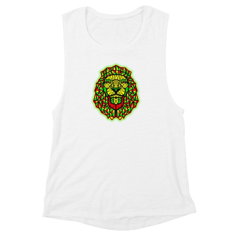 Rasta Geometric Lion Women's Muscle Tank by rskamesado's Artist Shop
