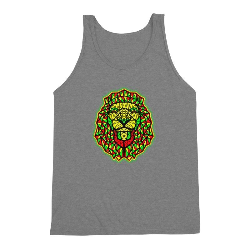 Rasta Geometric Lion Men's Triblend Tank by rskamesado's Artist Shop