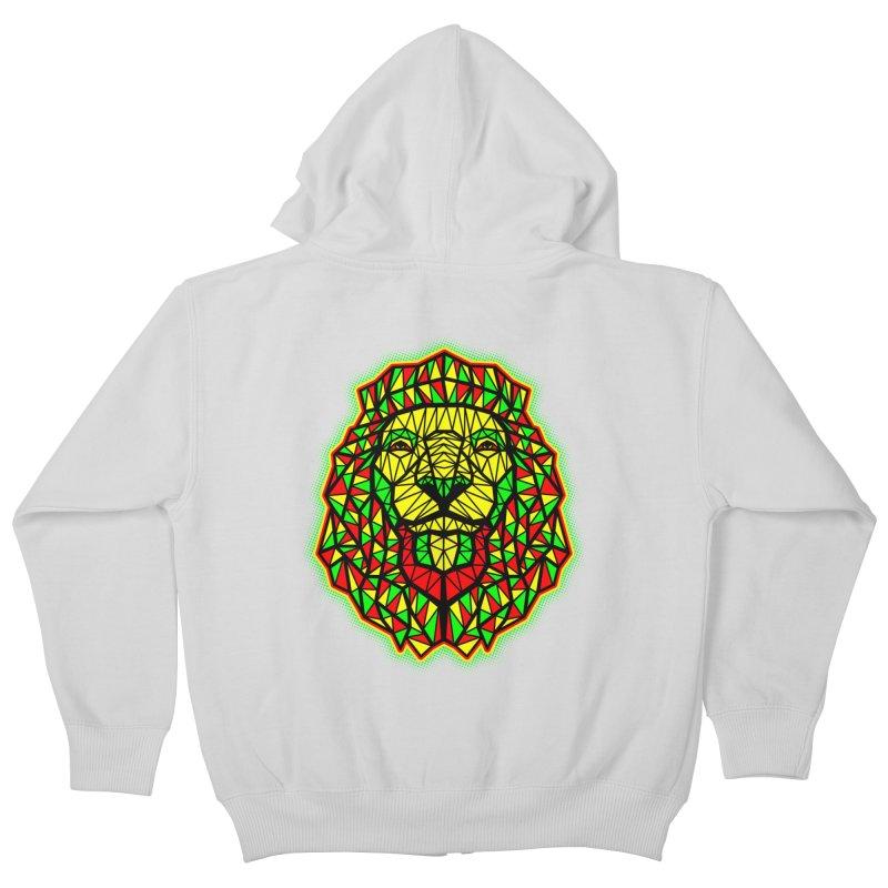 Rasta Geometric Lion Kids Zip-Up Hoody by rskamesado's Artist Shop