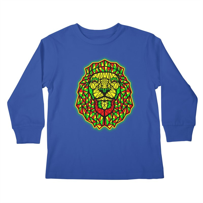 Rasta Geometric Lion Kids Longsleeve T-Shirt by rskamesado's Artist Shop