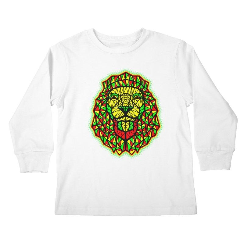 Rasta Geometric Lion Kids Longsleeve T-Shirt by rskamesado's Artist Shop