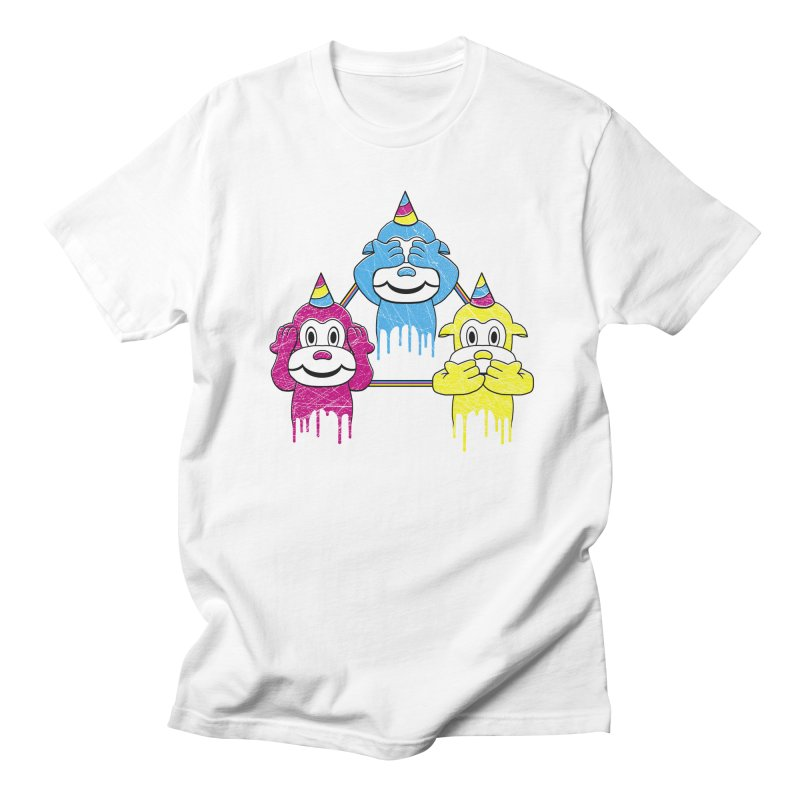 Wise Monkeys in Men's T-shirt White by rskamesado's Artist Shop