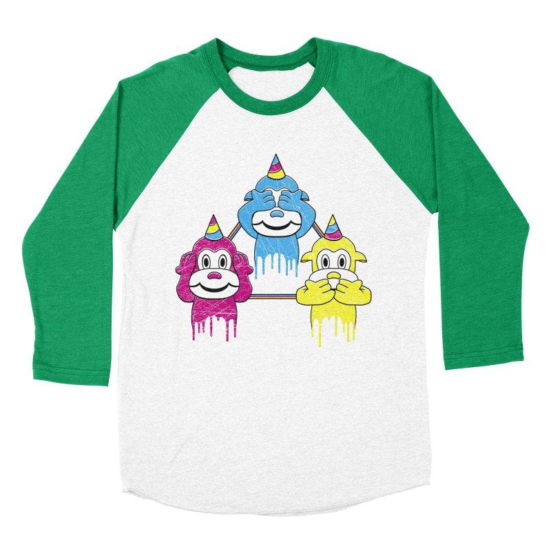 Wise Monkeys Women's Baseball Triblend T-Shirt by rskamesado's Artist Shop