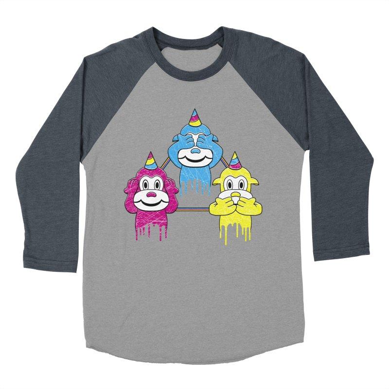 Wise Monkeys Men's Baseball Triblend T-Shirt by rskamesado's Artist Shop