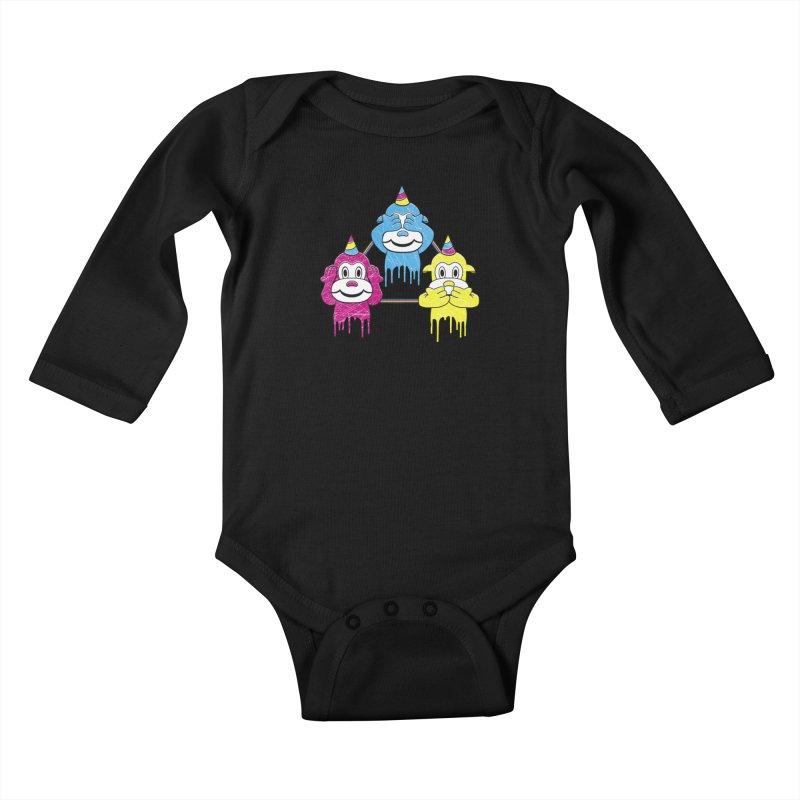Wise Monkeys Kids Baby Longsleeve Bodysuit by rskamesado's Artist Shop