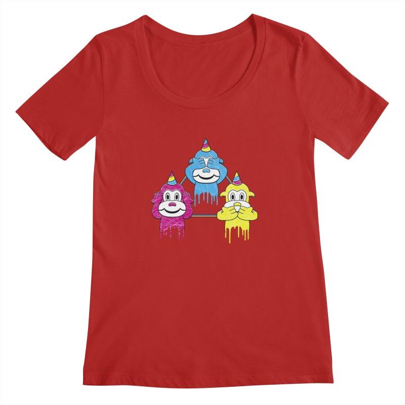 Wise Monkeys Women's Scoopneck by rskamesado's Artist Shop