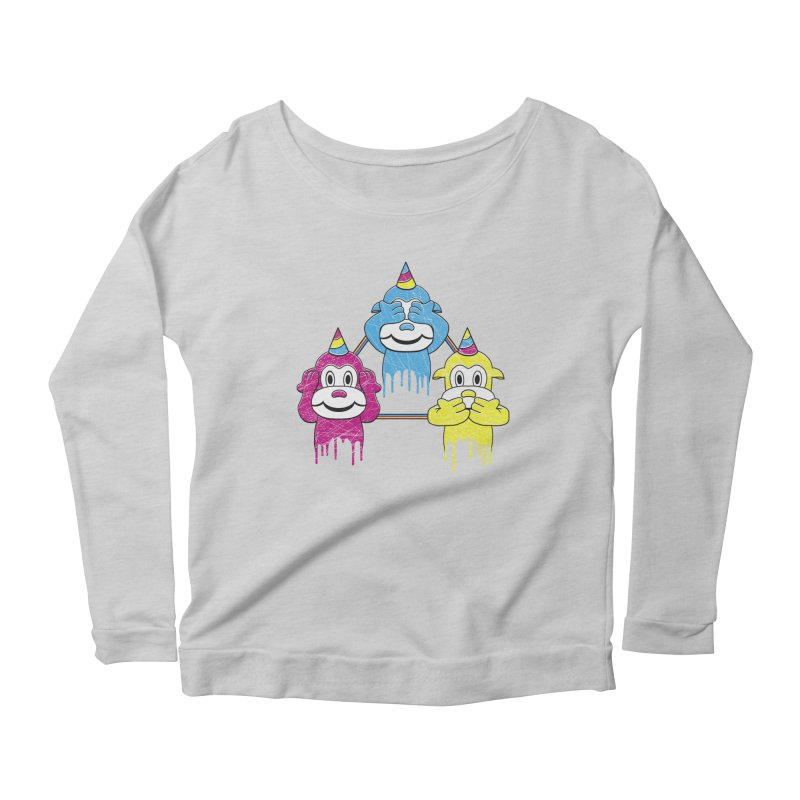 Wise Monkeys Women's Longsleeve Scoopneck  by rskamesado's Artist Shop