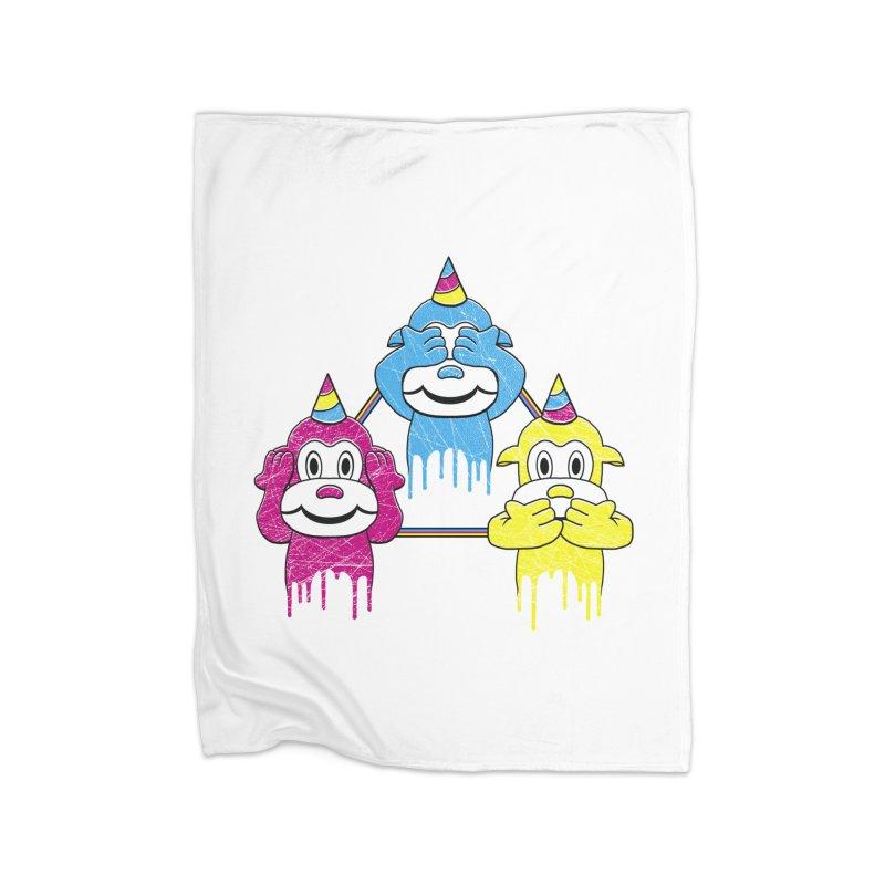 Wise Monkeys Home Blanket by rskamesado's Artist Shop