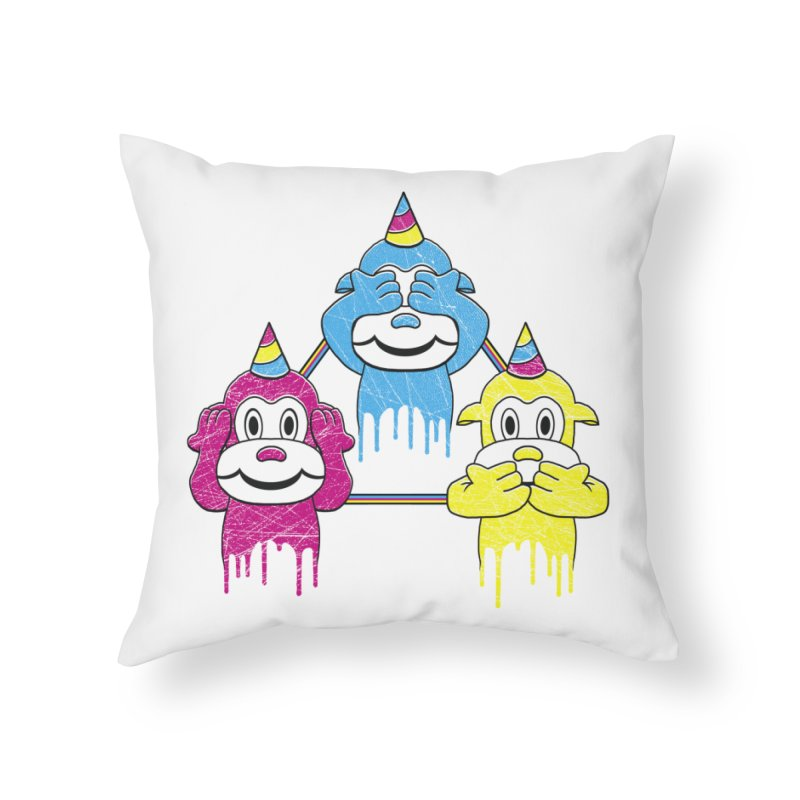 Wise Monkeys Home Throw Pillow by rskamesado's Artist Shop