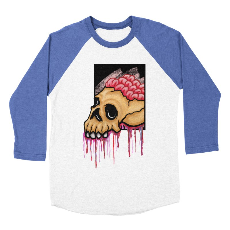 Skull and Brain Men's Baseball Triblend T-Shirt by rskamesado's Artist Shop