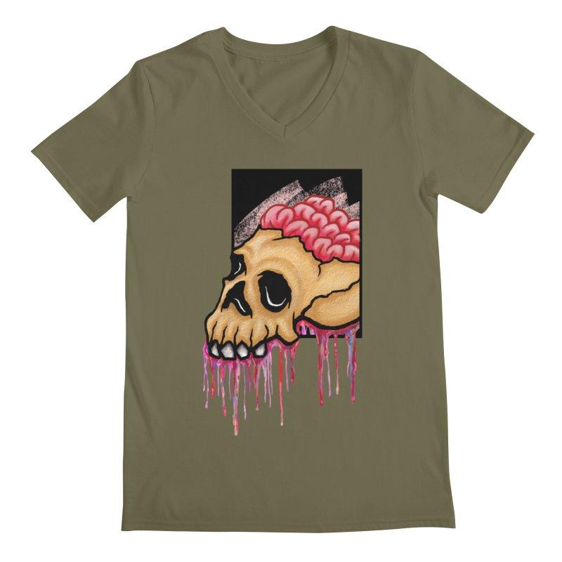 Skull and Brain Men's V-Neck by rskamesado's Artist Shop