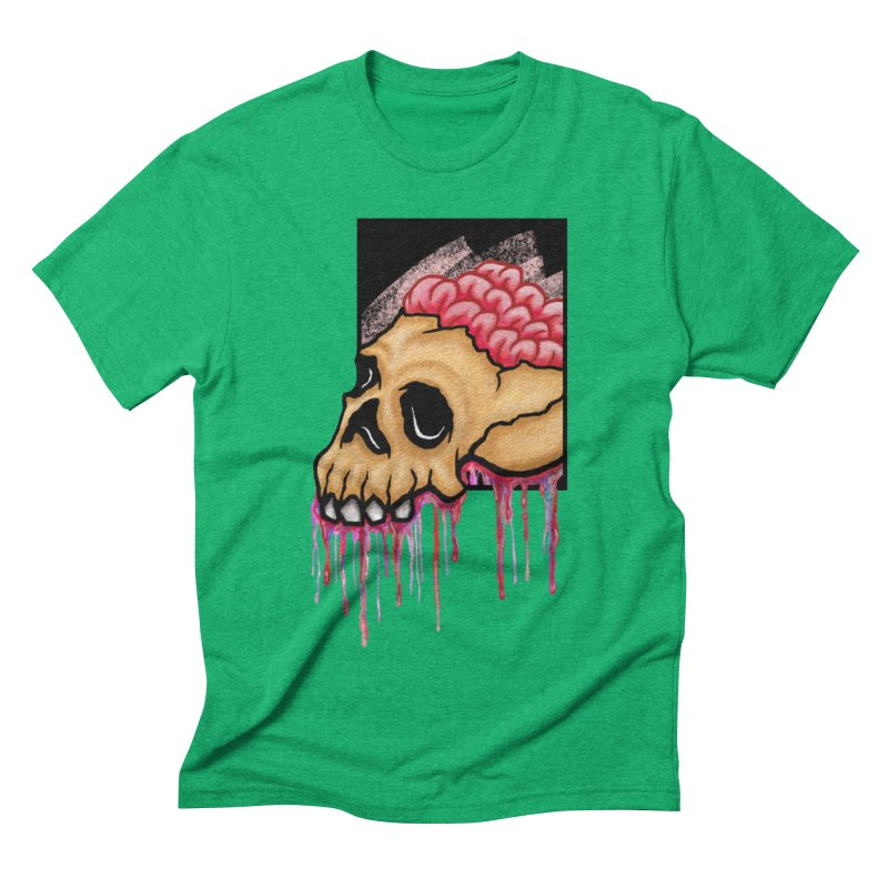 Skull and Brain Men's Triblend T-shirt by rskamesado's Artist Shop