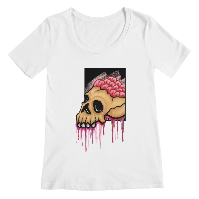 Skull and Brain Women's Scoopneck by rskamesado's Artist Shop