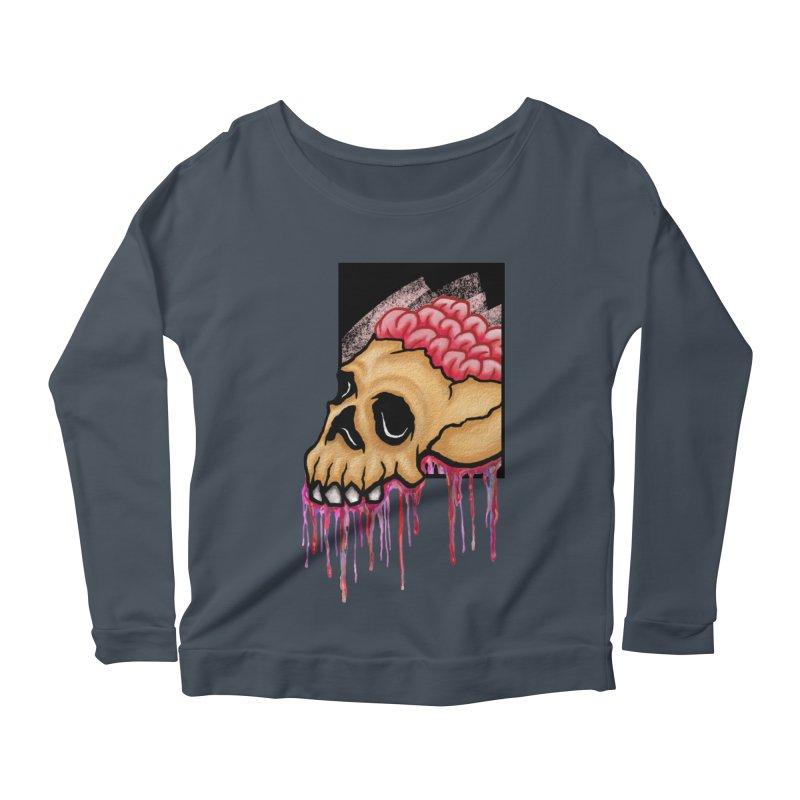 Skull and Brain Women's Longsleeve Scoopneck  by rskamesado's Artist Shop