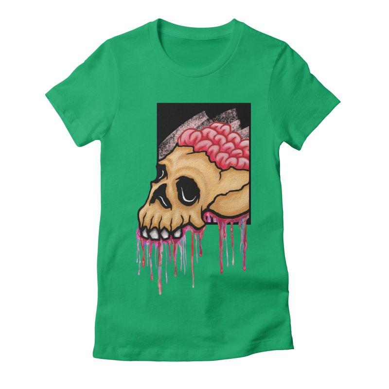 Skull and Brain Women's Fitted T-Shirt by rskamesado's Artist Shop