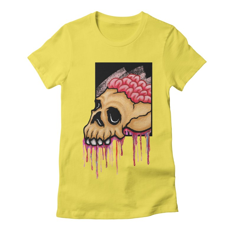 Skull and Brain Women's Fitted T-Shirt by rskamesado's Artist Shop