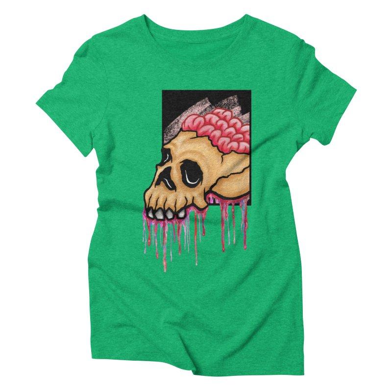 Skull and Brain Women's Triblend T-shirt by rskamesado's Artist Shop