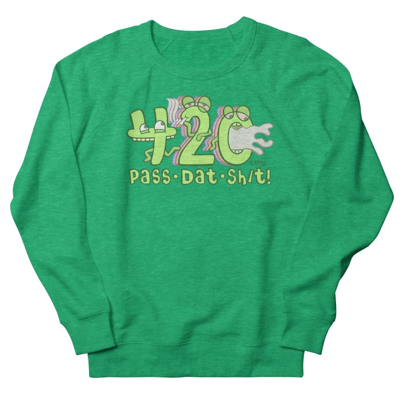 Pass Dat Sh/t! in Men's French Terry Sweatshirt Heather Kelly by R. THiES: Cartoonism