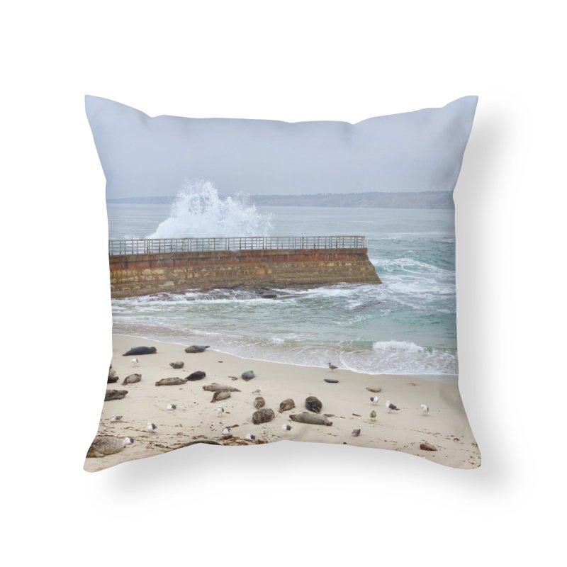 La Jolla Home Throw Pillow by rubberdanpants