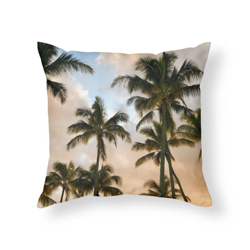 Hawaiian Palms Home Throw Pillow by rubberdanpants