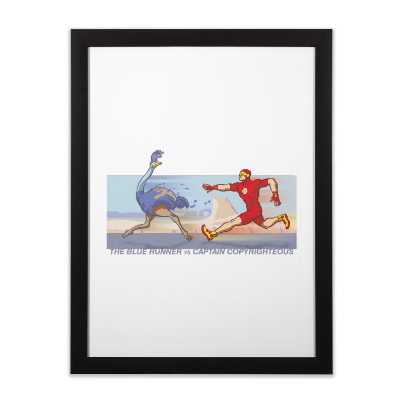 Blue Runner vs Captain Copyrighteous Home Framed Fine Art Print by rubioric's Artist Shop