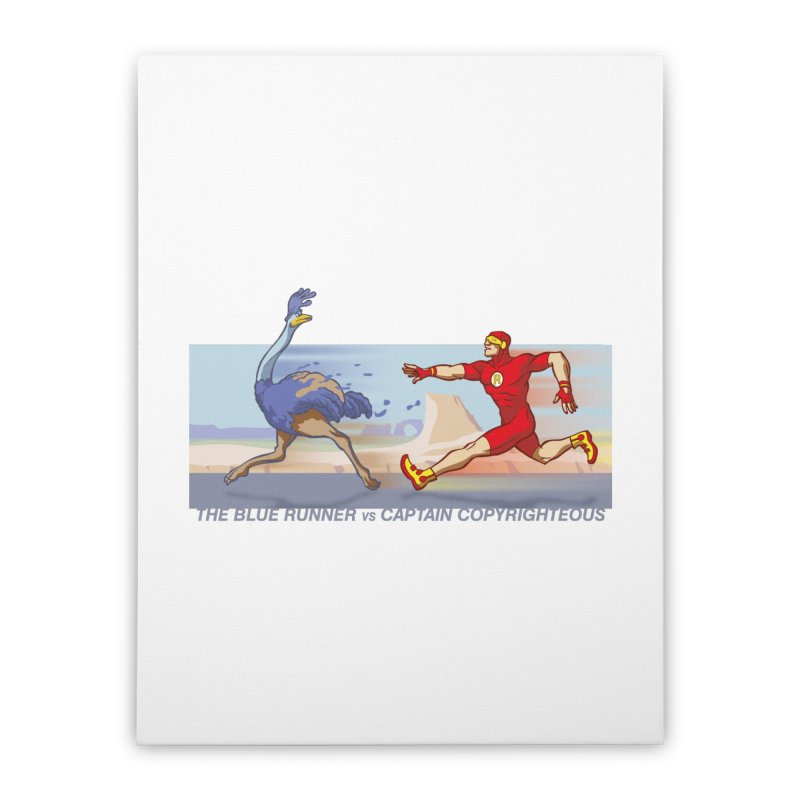 Blue Runner vs Captain Copyrighteous Home Stretched Canvas by rubioric's Artist Shop