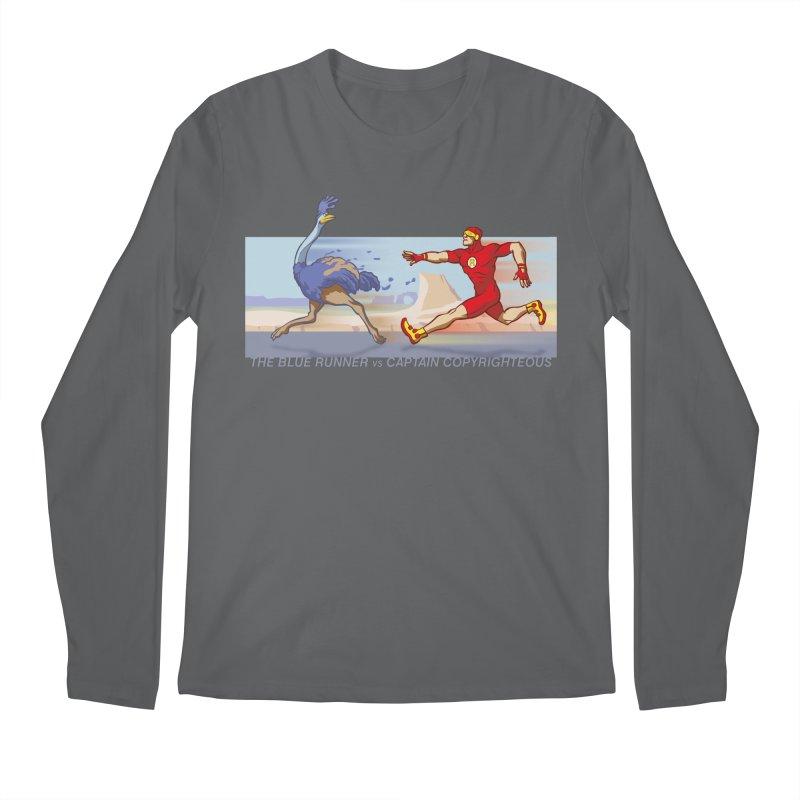 Blue Runner vs Captain Copyrighteous Men's Longsleeve T-Shirt by rubioric's Artist Shop