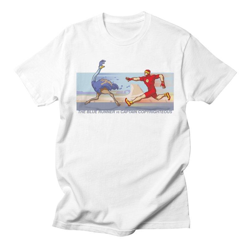 Blue Runner vs Captain Copyrighteous Men's T-Shirt by rubioric's Artist Shop