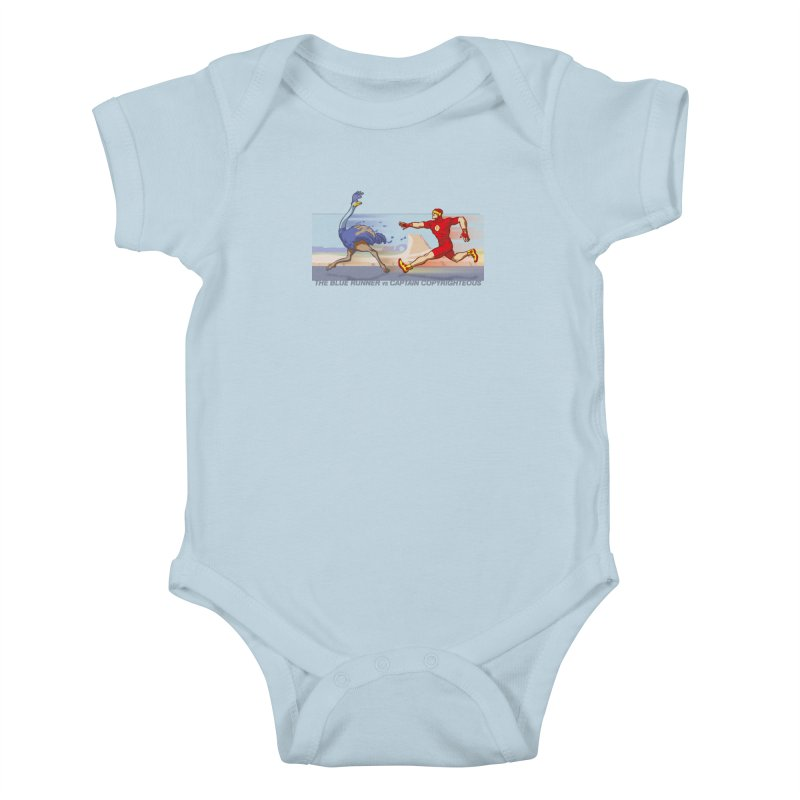 Blue Runner vs Captain Copyrighteous Kids Baby Bodysuit by rubioric's Artist Shop