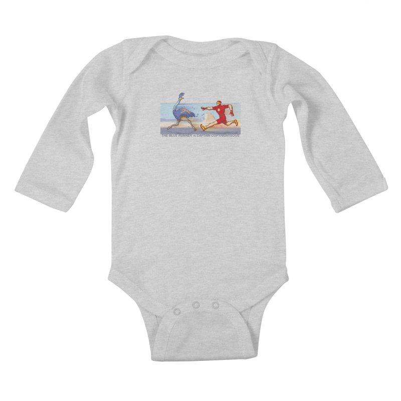 Blue Runner vs Captain Copyrighteous Kids Baby Longsleeve Bodysuit by rubioric's Artist Shop