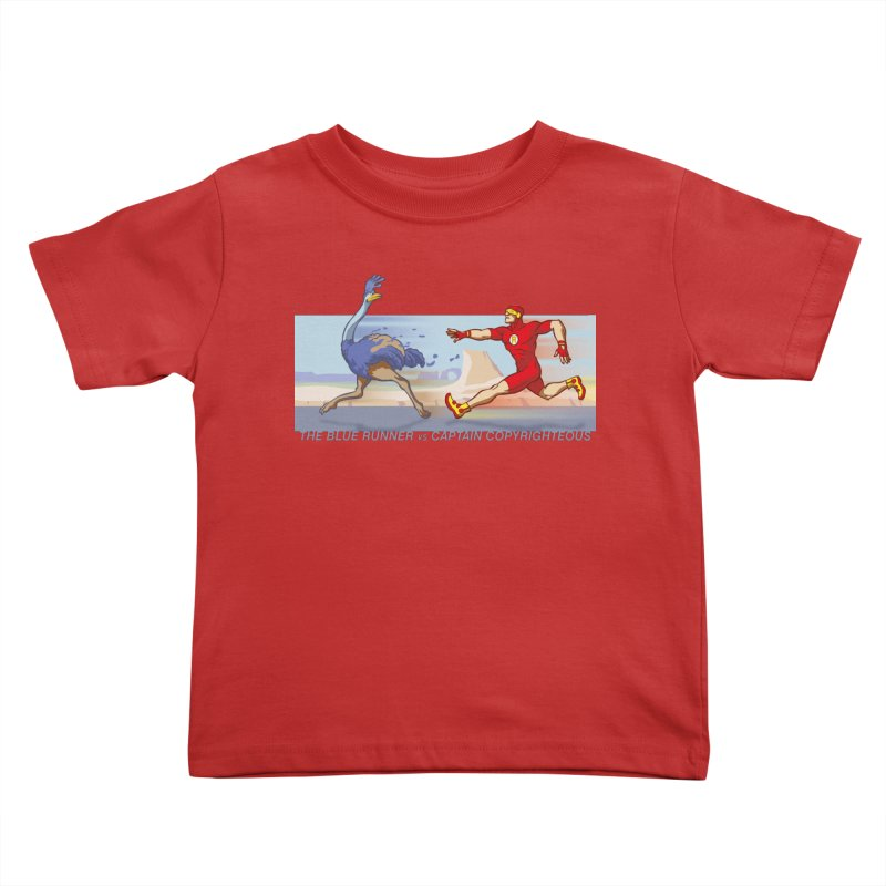 Blue Runner vs Captain Copyrighteous Kids Toddler T-Shirt by rubioric's Artist Shop