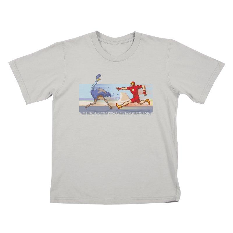 Blue Runner vs Captain Copyrighteous Kids T-Shirt by rubioric's Artist Shop